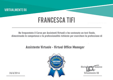 certificazione virtual office manager